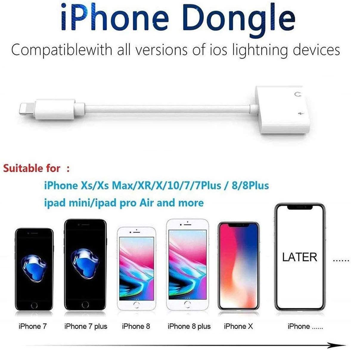 Headphone Jack Adapter Dongle for iPhone 11 Pro//8//7//7Plus//Xs Max//XR//X//10 to 3.5mm Jack Converter Car Charge Accessories Cables /& Audio Connector Earphone Splitter Adaptor Support All New iOS System