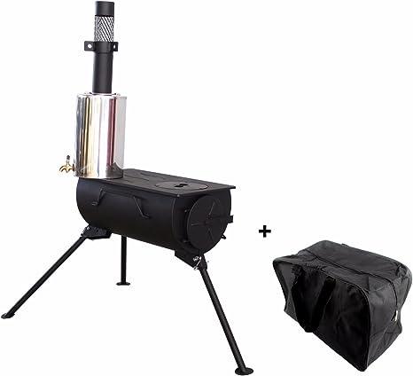 Comfort Portátil Estufa de Leña con Calentador de Agua Camping Cocina Bolsa de Transporte
