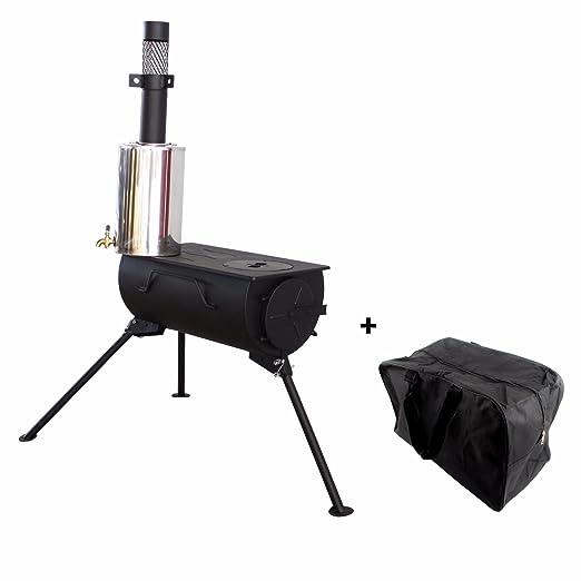 Frontera portátil estufa de leña con calentador de agua Camping cocina bolsa de transporte: Amazon.es: Deportes y aire libre