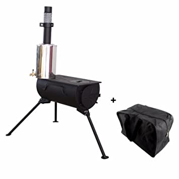 Frontera portátil estufa de leña con calentador de agua Camping cocina bolsa de transporte
