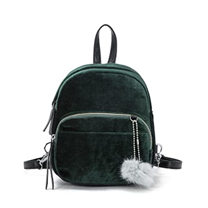 a7018d88a555 Cinhent Backpacks Mini Fur Ball Backpack Fashion Velvet Shoulder Bag Solid Women  Girls Sport School Travel