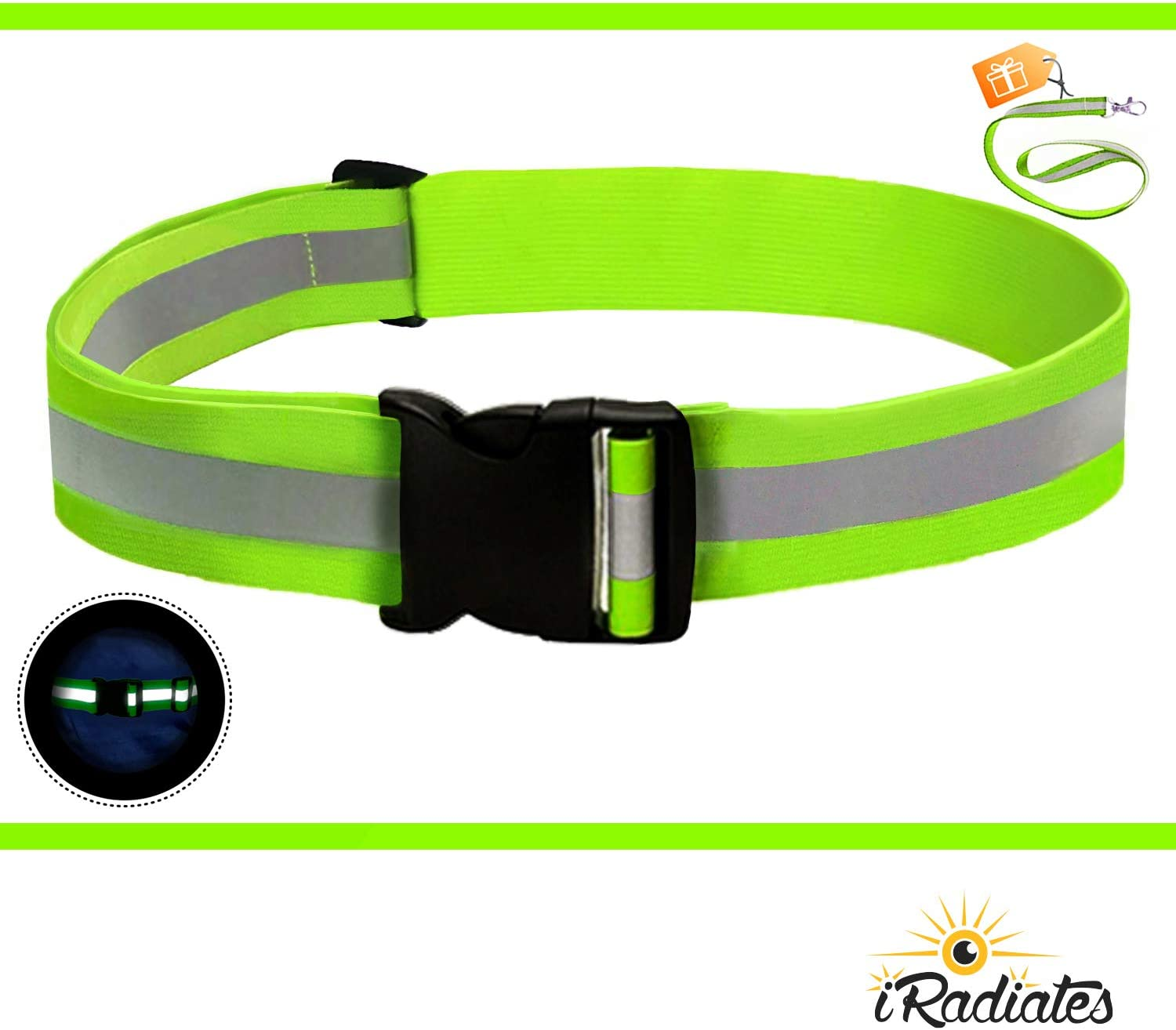 iRadiate Reflective Bands Reflector Running Gear - Adjustable Reflective Armband Arm Wrist Ankle Leg Band - Reflective Tape Strap for Clothing Biking and Safety Night Walking (Belt Green)