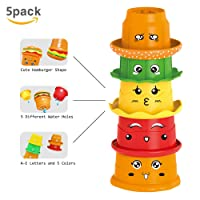 HAOXIN Nesting & Stacking Cups,Baby Early Educational Bathroom Stacker Toys with ABC Letters and Facial Expression for Kids Toddlers Children Play at Bathtub and Beach.