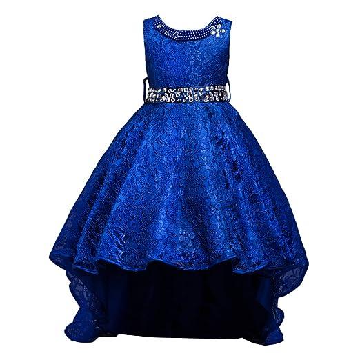4d76268ec52f 1 opinioni per LSERVER-Abito in Pizzo con Coda Ragazza con Diamanti Bambine  Vestito Principessa