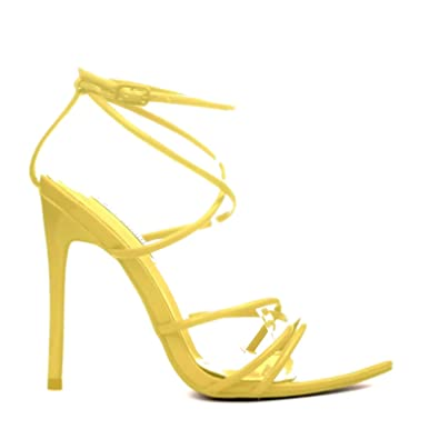 b54808af7377 Michelle Parker Cape Robbin ADA Yellow Super Strappy Pointy Open Toe Ankle  Strap Stiletto Heel (