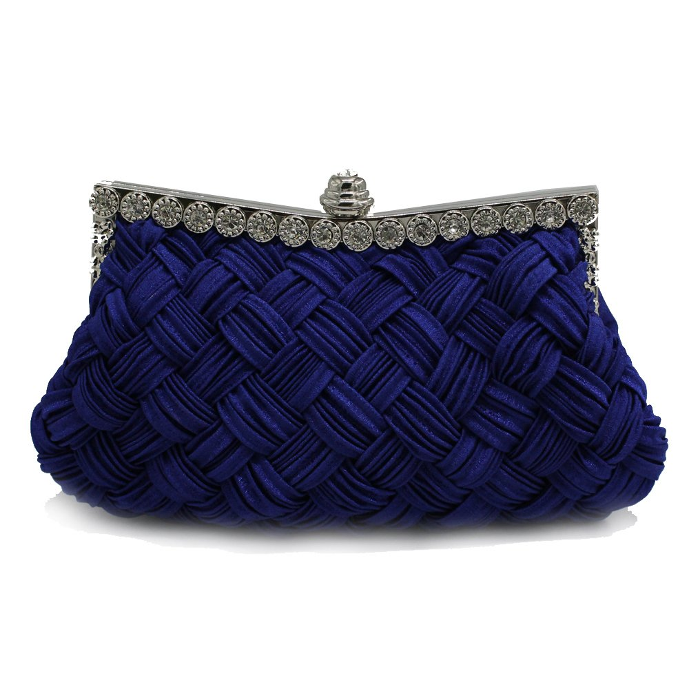 kingluck the Rhinestone Studded Wedding Evening Bridal Bridesmaid Clutch Purse (dark blue)
