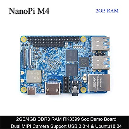 FriendlyARM NanoPi M4 2GB DDR3 Rockchip RK3399 SoC 2 4G & 5G Dual-Band  WiFi,Support Android and Ubuntu, AI and deep Learning,Ship with 8G eMMC  Module