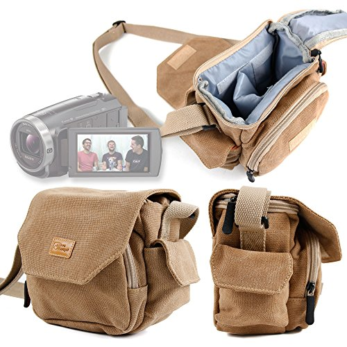 duragadget-light-brown-medium-sized-canvas-carry-bag-for-new-sony-fdr-ax53-4k-handycam-with-multiple