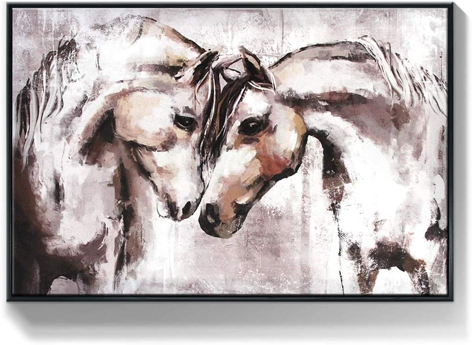 Lamplig Horse Art for Wall Decor Animal Wall Art for Bedroom Brown Canvas Prints Farmhouse Pictures of Horses Head to Head Artwork Printed Painting Framed for Living Dining Room Bathroom 24x16 inch