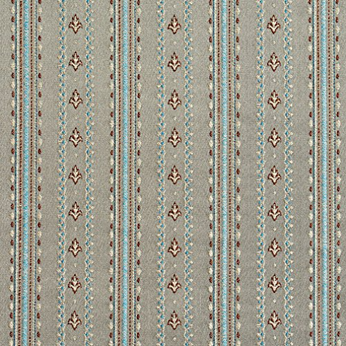 (B0740E Grey, Blue and Bronze Stripes and Emblems Damask Brocade Upholstery Fabric by The Yard )