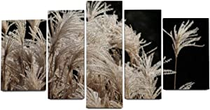 NOAON Reed Miscanthus Elephant Grass Tufts Trockenblume Wood Framed Wonderful Irregular Canvas Prints for Home Decor Wall Art Ready to Hang