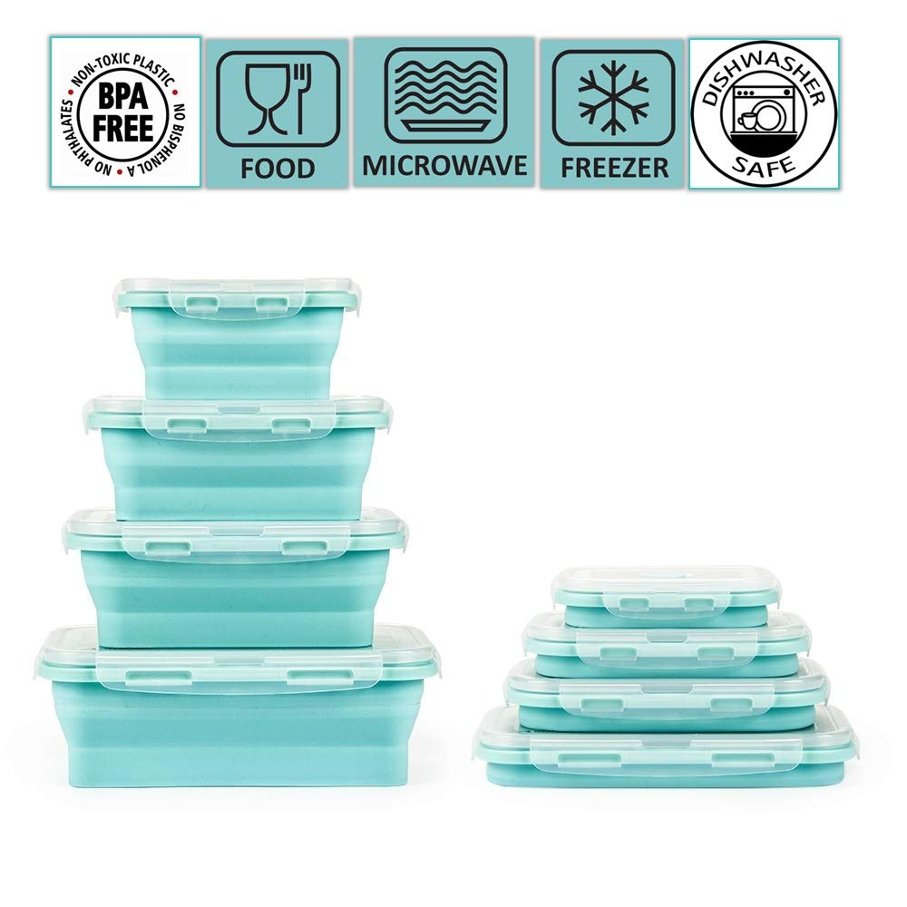 Collapsible silicone food storage container set of 4 with lids | Stackable & space saving | Microwaveable | Fridge, freezer & dishwasher safe | BPA free|Colour-coded, clip-on lids | Bento lunch box