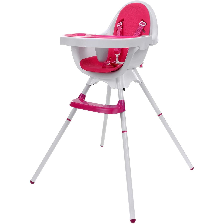 rosa mit Fu/ßst/ütze mitwachsend KINDEREO Baby Kinder Hochstuhl 3in1 mit Sicherheitsgurt und Gro/ßem Esstisch Zusammenklappbar