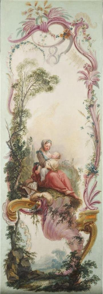 Oil Painting 'Jacques De LaJoue (attributed To) - Seven Decorative Panels Mounted In A Screen - Mother Nursing Her Child, C. 1730-40' 30 x 85 inch / 76 x 216 cm , Polyster decoration