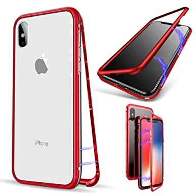 0a62d66d522 iPhone X Case, OWM Magnetic Adsorption Metal [360 Bumper] with [Clear Glass  Back] [MagneTech Series] Shockproof ...