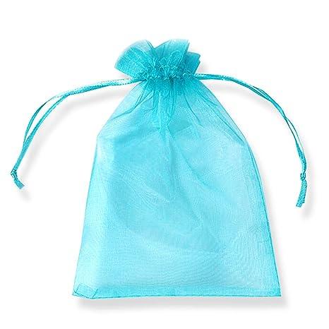 PLECUPE 100 Pcs Bolsa Organza Organza Bags, 10x15cm Transparente Organza Joya Bolsas Fiesta de Boda Bolsas de Regalo - Azul#2