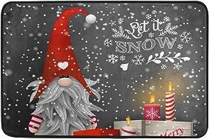 AHOMY Door Mat Indoor Outdoor, Christmas Gnome Candles Snowflake Gift Boxes Non-Slip Rubber Entrance Rug Floor Mats Doormats 24 x 16 Inches