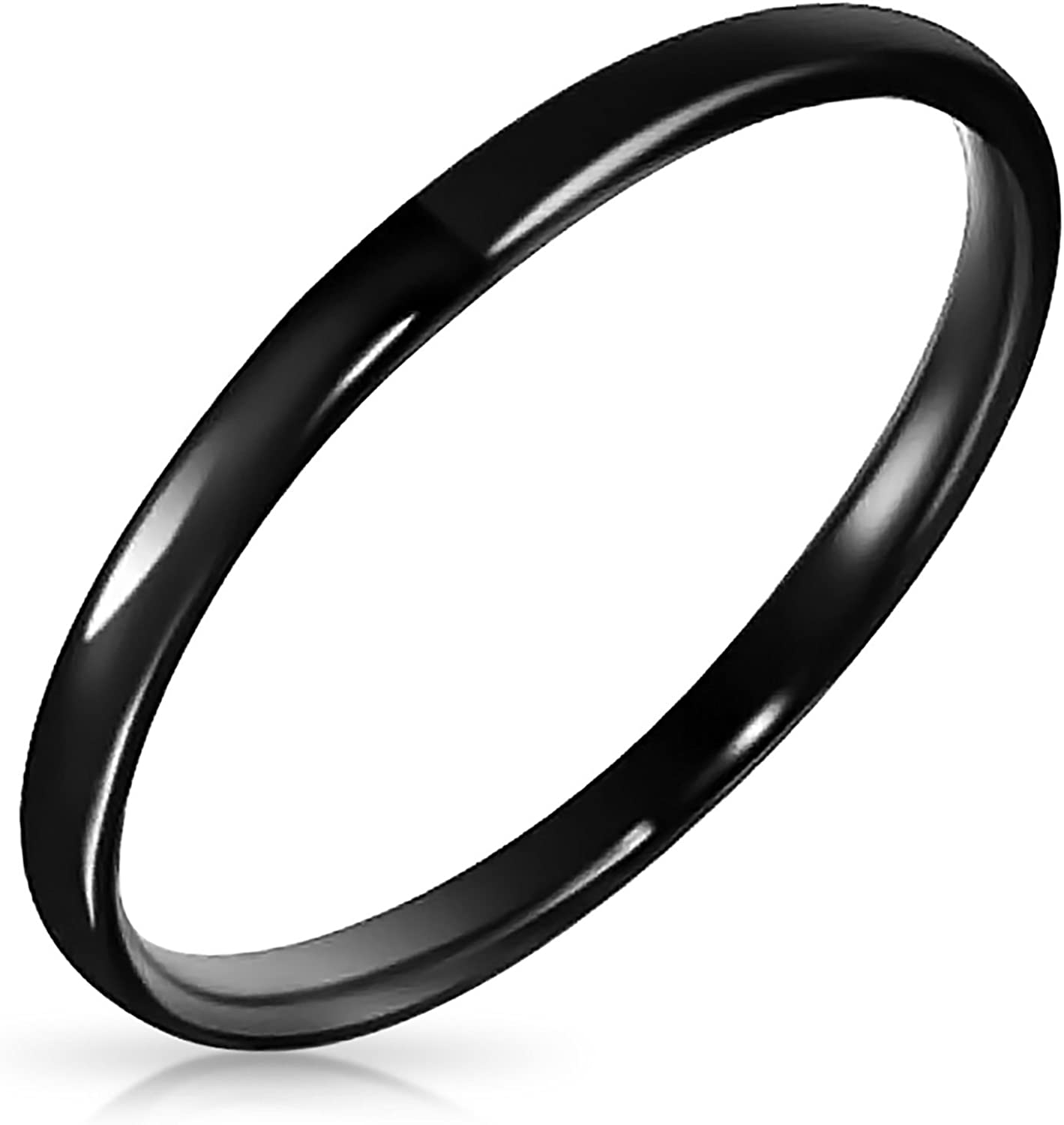 Personalized Thin Stackable Minimalist Simple Dome Black Couples Titanium Wedding Band Ring 2MM Custom Engraved