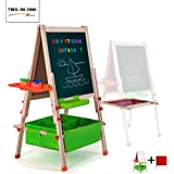 Gimilife Deluxe Easel for Kids, Folding Wooden Art Easel with Chalkboard, Whiteboard, and Storage Bins or Tray, Standing…