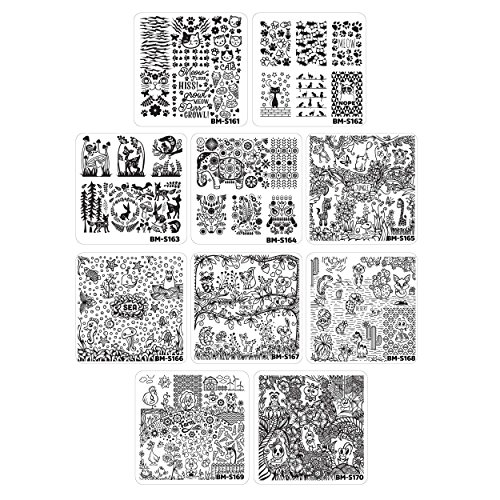 Bundle Monster 10pc Nail Art Manicure Stamping Plates-Fuzzy and Ferocious, Set 2