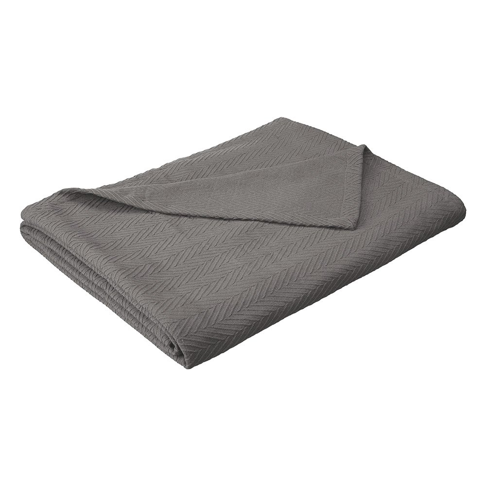 eLuxurySupply Metro Weave Blanket - 100% Soft Premium Cotton Blanket - Perfect for Layering Any Bed, Full/Queen, Charcoal