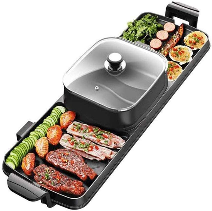 Electric Grill Grill And Griddle Pan For Indoor BBQ In Your Kitchen, Temperature Control, Cooking Timer For Smokeless Grilling