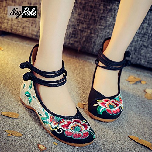 amp;G Espadrilles Chinese Shoes Women'S Shoes Embroidered Women'S Retro Flat black NGRDX Shoes Casual Women'S Hibiscus dpq4dT