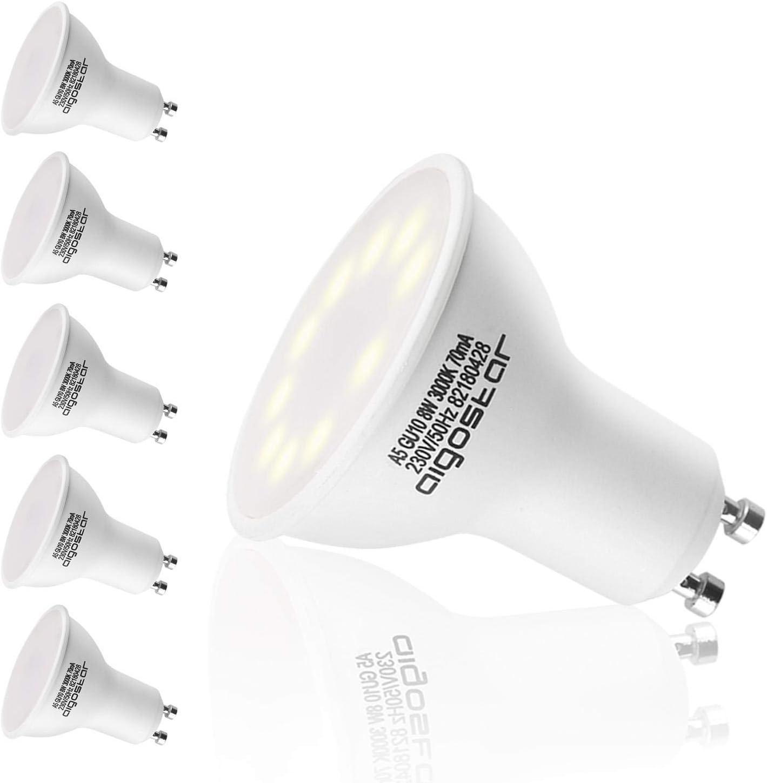 Aigostar - Bombilla Esmerilada LED GU10 8W, Luz calida 3000K, 560lm, Bajo consumo, no regulable - Paquete de 5 Unidades