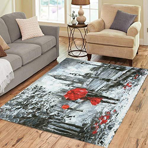 Pinbeam Area Rug Oil Painting Street View of London Black White Home Decor Floor Rug 5' x 7' Carpet