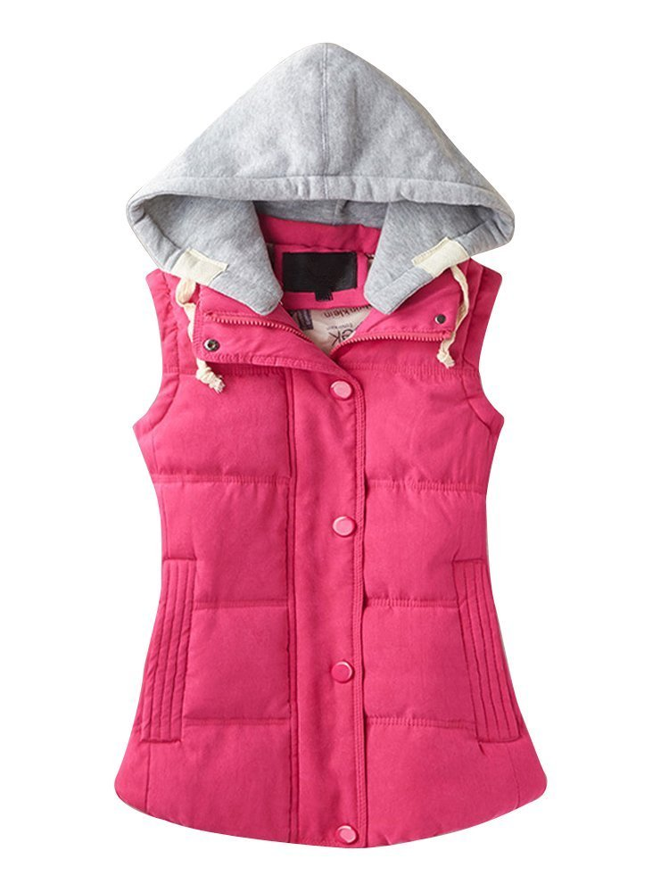 Women's Casual Winter Outerwear Waistcoat Quilted Padded Puffer Vest with Removable Hood Fushia Tag 3XL-US L