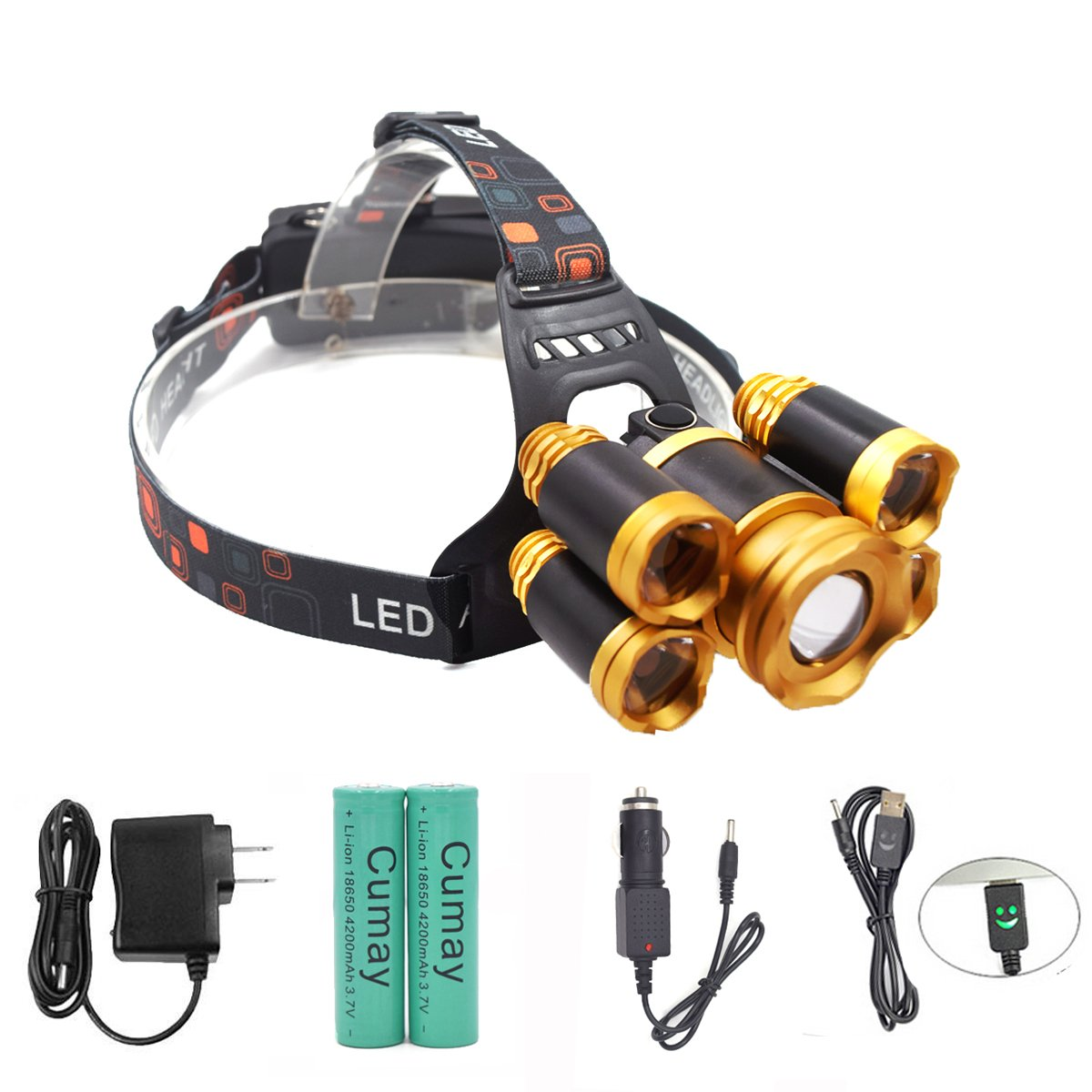 Rechargeable LED headlamp, Super Bright 4 Modes LED Headlight Waterproof, Zoomable Headlamps for Cycling, Running, Dog Walking, Camping, Hiking, Fishing