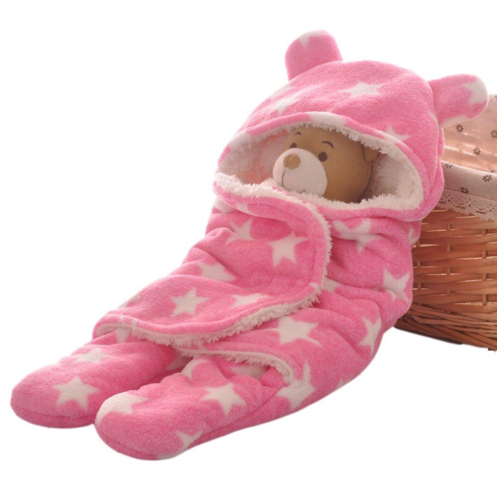 ARAUS Newborn Baby Swaddle Blanket Hooded Stroller Wrap Fleece Velcro Sleeping Bag
