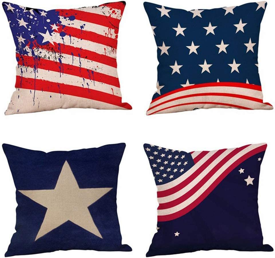 OATHENE Set of 4 Cotton Linen Throw Pillow Covers Stars and Stripes American Flag Wave Line Five-Pointed Star Navy Blue Red Decor for Bedroom car 18 x 18 Inches.