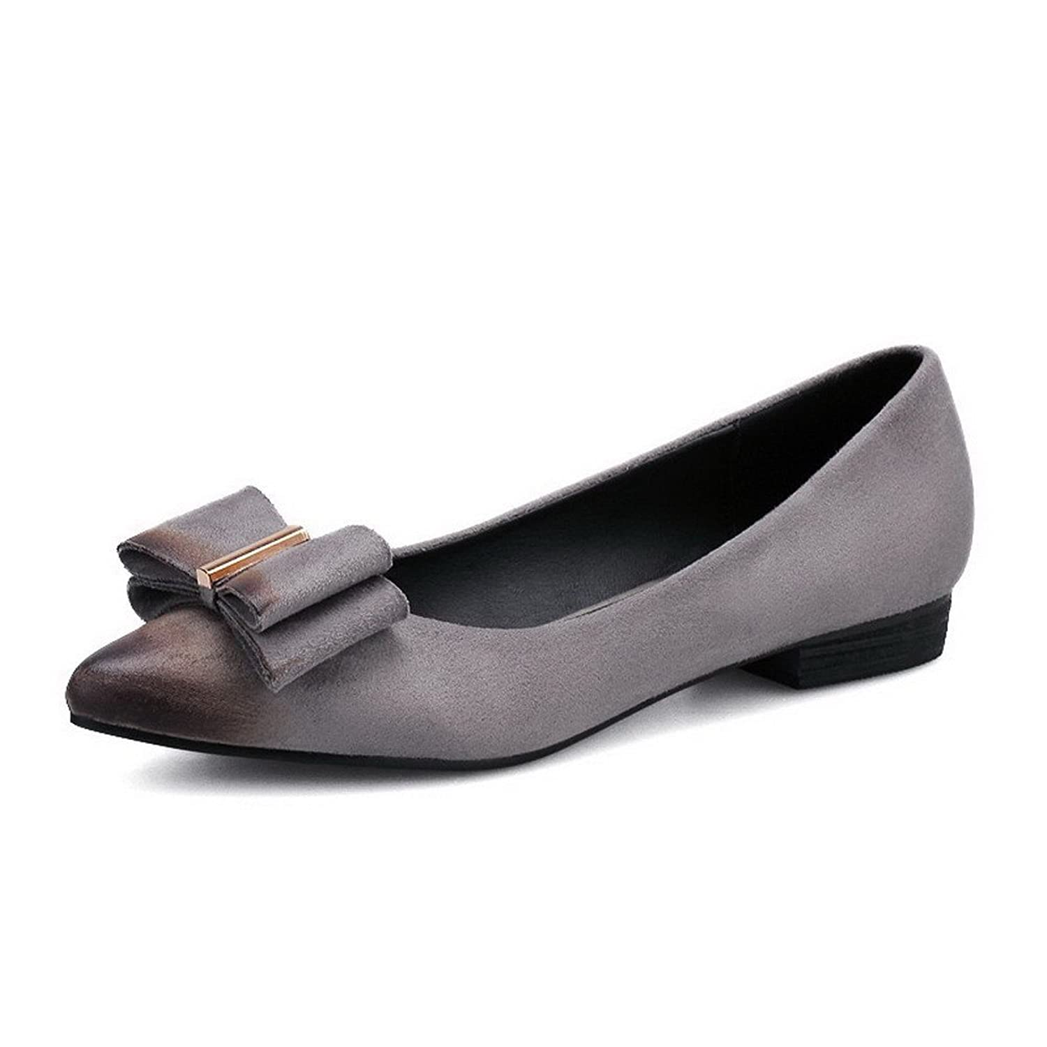 AalarDom Women's Pointed Closed Toe Imitated Suede Pull-On No-Heel Flats-Shoes with Bowknot