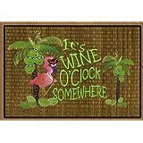 It's Wine O'clock Flamingo Art Floor Mat
