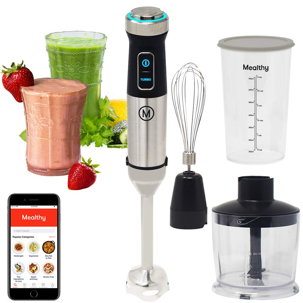 Mealthy Immersion Hand Blender 500 Watt, 10 Speed Controls Plus Turbo, Includes 500mL Chopper and Whisk, and 600mL Smoothie Cup. Stainless Steel BPA-free Instant Access to Recipe App with Videos