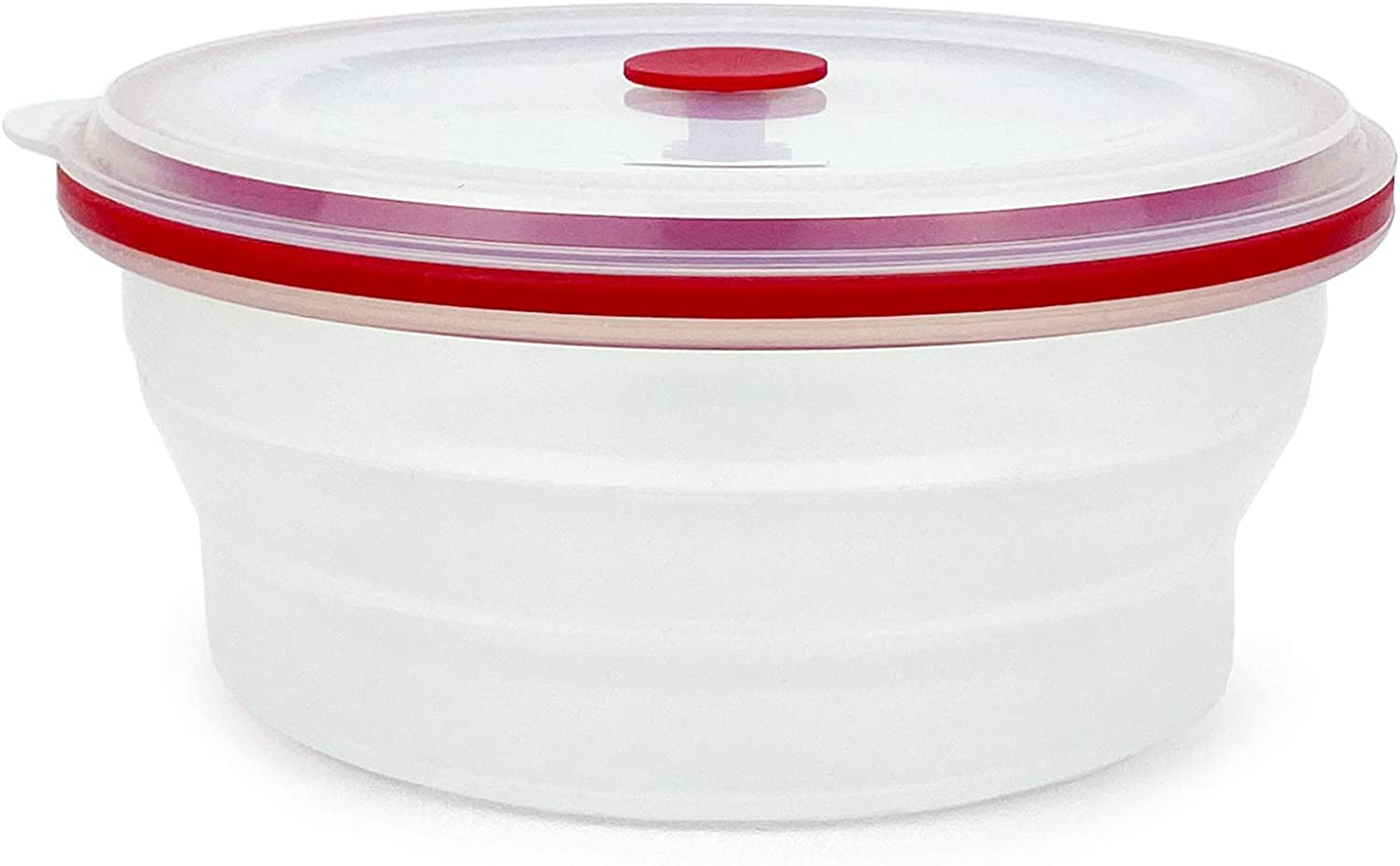 CARTINTS 100% Silicone Collapsible Bowls, Food Grade Reusable Silicone Food Containers with Lid, Silicone Lunch Containers, Oven, Microwave, Freezer Safe, 900ml, Round