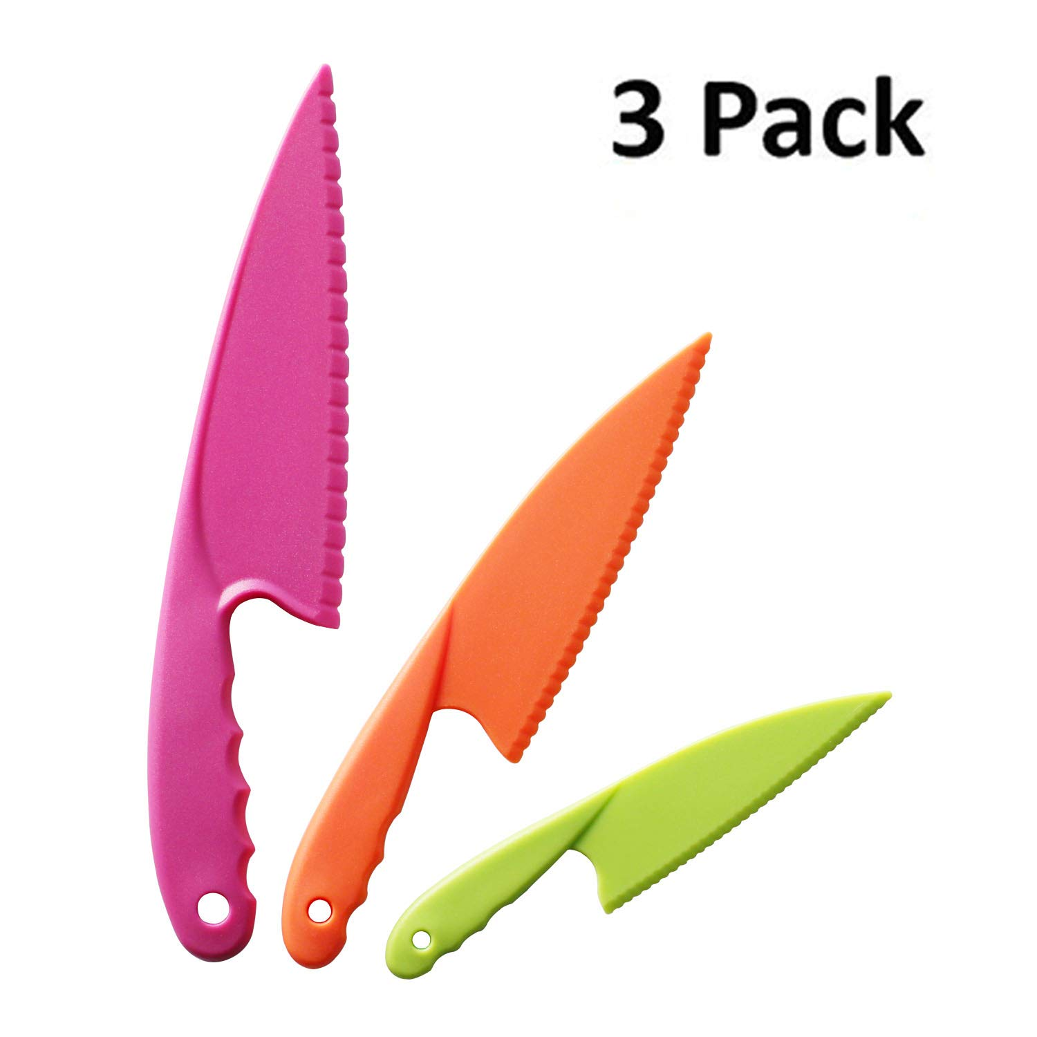 Hombae Kids Kitchen Knife Set 3 Piece Nylon Kids Chef Knife, Toddler\'s  Cooking Knives in 3 Sizes and Colors, BPA Free Plastic, Safe Knives for  Bread, ...