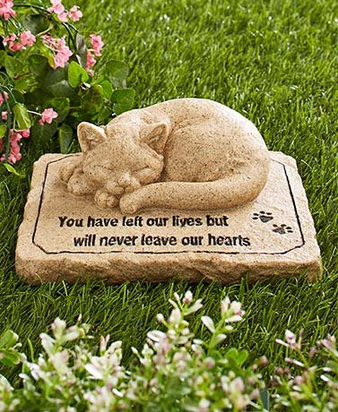 Cat Memorial (Pet Memorial Stones Cold Cast Ceramic Memorial Garden Backyard Flowers Greenery (Cat))