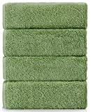 Grohome Luxury Hotel & Spa Cotton 750 GSM 4-Piece Large Hand Towel Set, Sage Green (14 x 30 inch)