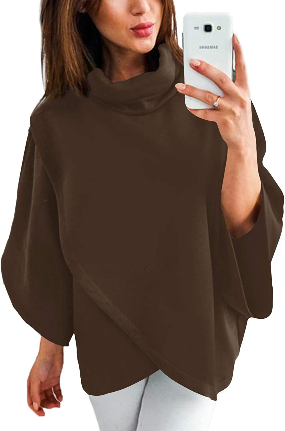 YOINS Outwear Capes Turtleneck Poncho for Women Chimney Collar Flared 3/4 Sleeves Irregular Hem Pullover Sweaters