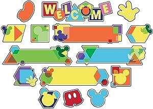 Eureka's Disney Mickey Mouse Geometric Bulletin Board and Classroom Decorations, 6.5''x0.1''x26'', 27 pc