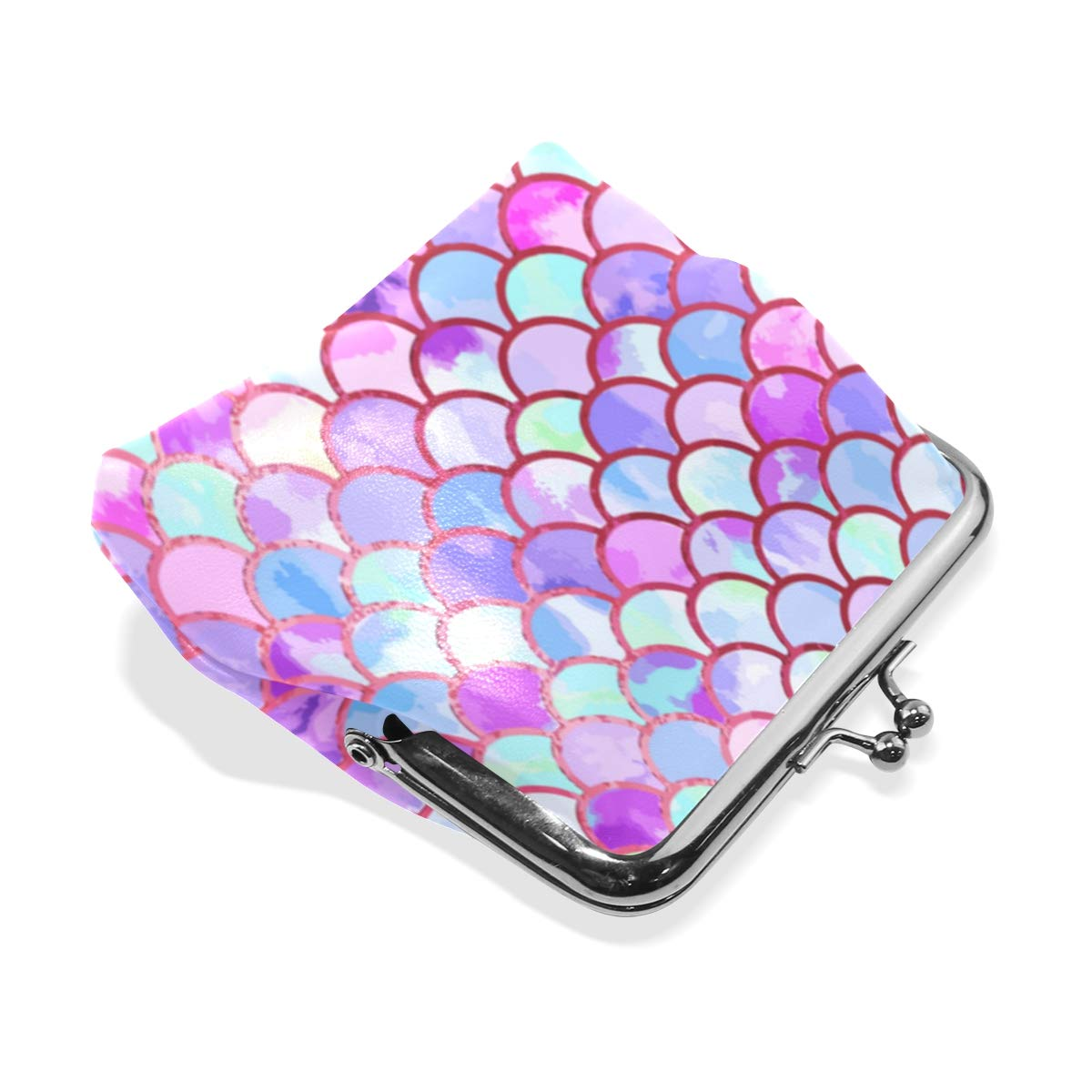Watercolor Mermaid Fish Scales Coin Purse Buckle Vintage PU Pouch Kiss-lock Wallet for Women Girl