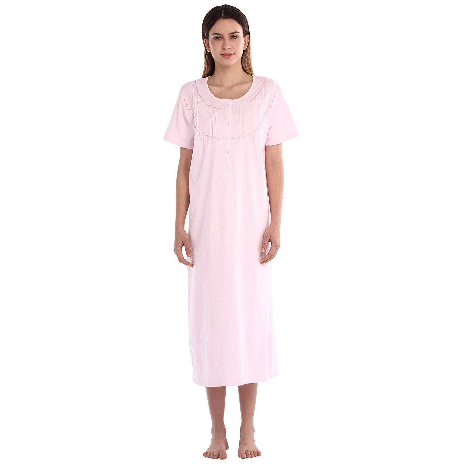 557a5ed57f7 STYLE - This style is a short sleeve solid long nightgown which made from  100% cotton knitted fabric. The fabric is lightweight and breathable