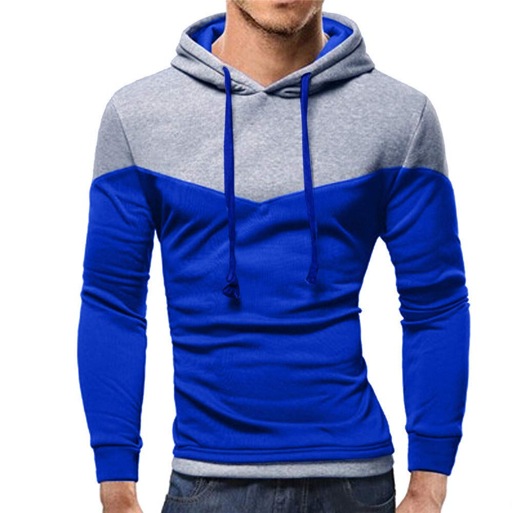 MASHAN Male Hooded Hoodies Sweatshirt Autumn Clothes Men Sweatshirt Pullover Long Sleeve Patchwork,Wine Red,M,China