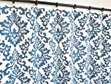 Pair of rod curtains 50'' wide panels cecilia damask floral navy blue white window treatment nursery cotton drapes 84 96 108