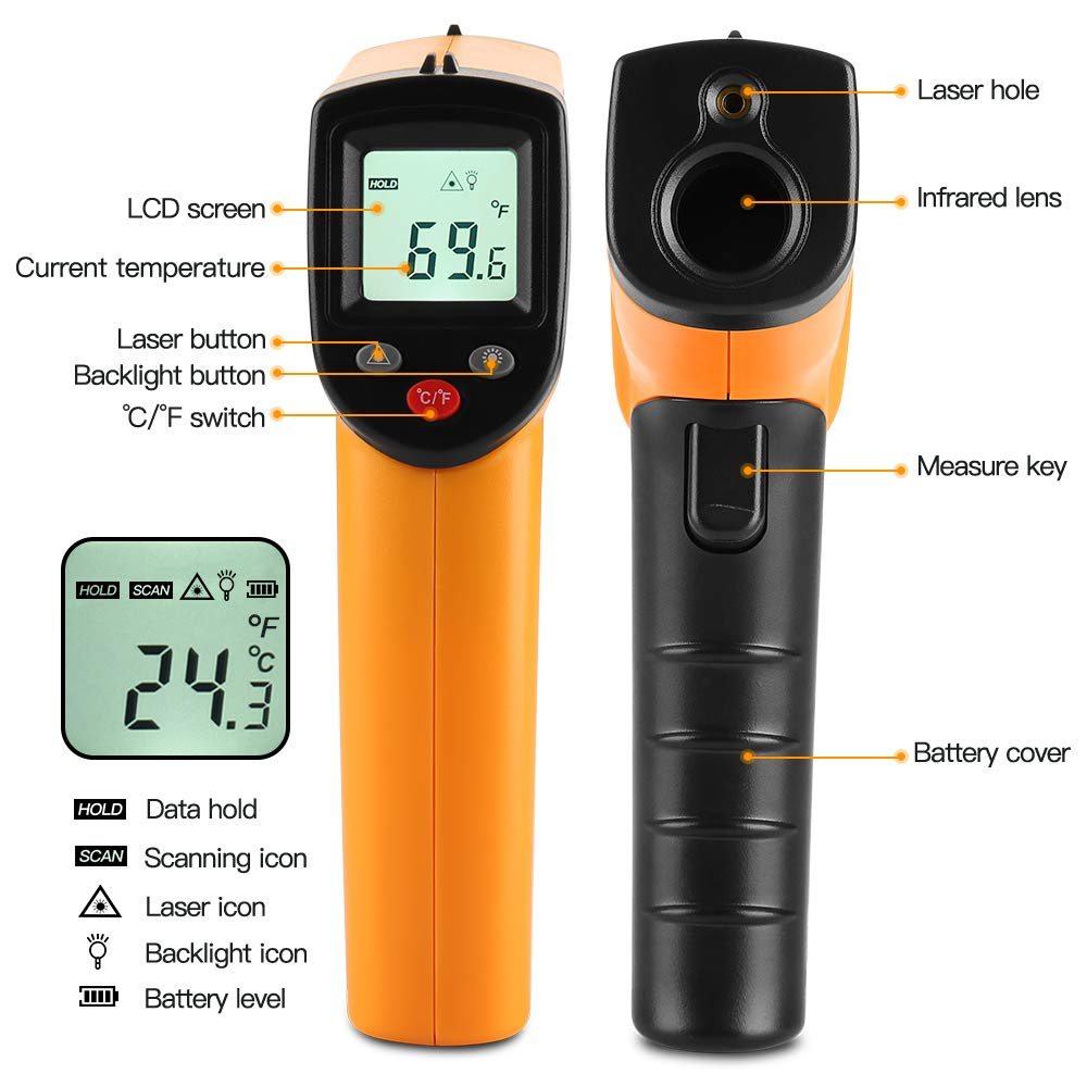 2 Pack Non-contact Laser Thermometers Instant Read Hand Tool For Kitchen//Outdoor -58℉~716℉ AC Units Heater Check Infrared Thermometer Temperature Gun AAA Battery Not Included