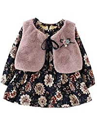 KINDOYO Girls Flower Princess Long Sleeve Casual Cotton Dresses And Velvet Vest