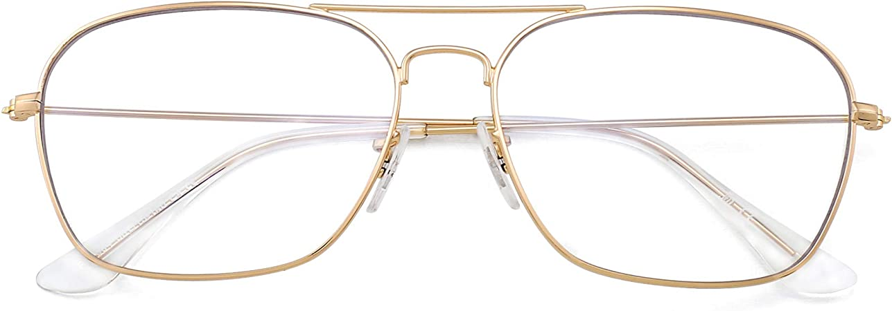 Flieger Blaues Licht blockiert Computer Brillen Platz Augenschutz Video Eyeglasses Anti Blendung Damen Herren Goldrahmen Klar Tempel Tipps