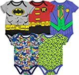 Warner Bros. Baby Boys' 5 Pack Bodysuits - Batman - Robin - Joker and Riddler
